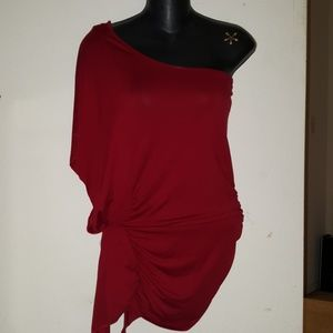 One shoulder Wing sleeve red dressy Club top